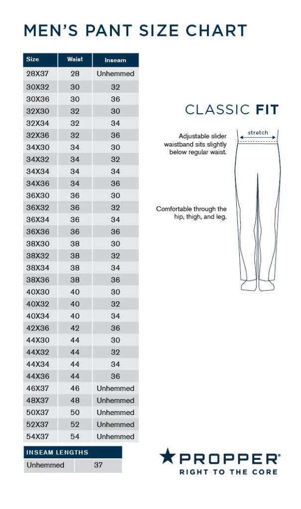 Propper Men's Pant Size Chart