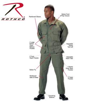 Rothco Poly-Cotton Twill Solid BDU Shirts - 7838-7837-Z1 - Olive Drab