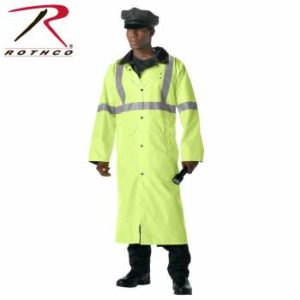 Rothco Reversible Reflective Rain Parka - 3900-Model-B1 - Safety Green