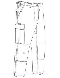 TRU-SPEC - 8-Pocket BDU Pants - Diagram