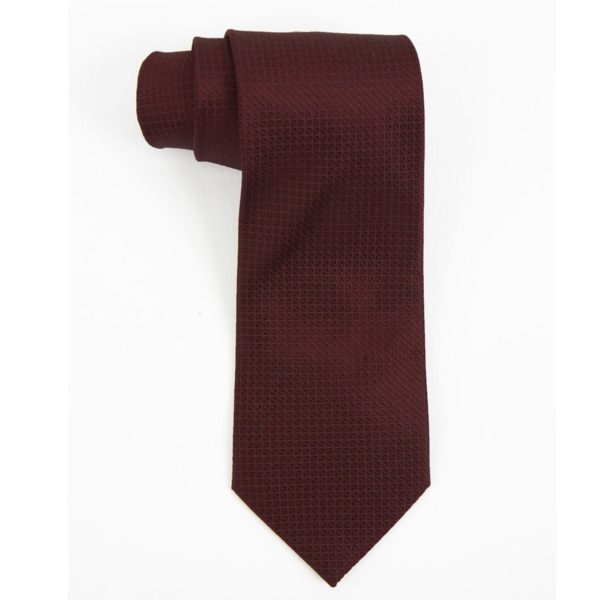 Executive Apparel Mens Solid Polyester Dobby Tie -1670 - Burgundy