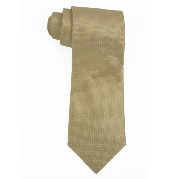Executive Apparel Mens Solid Polyester Dobby Tie -1670 - Gold