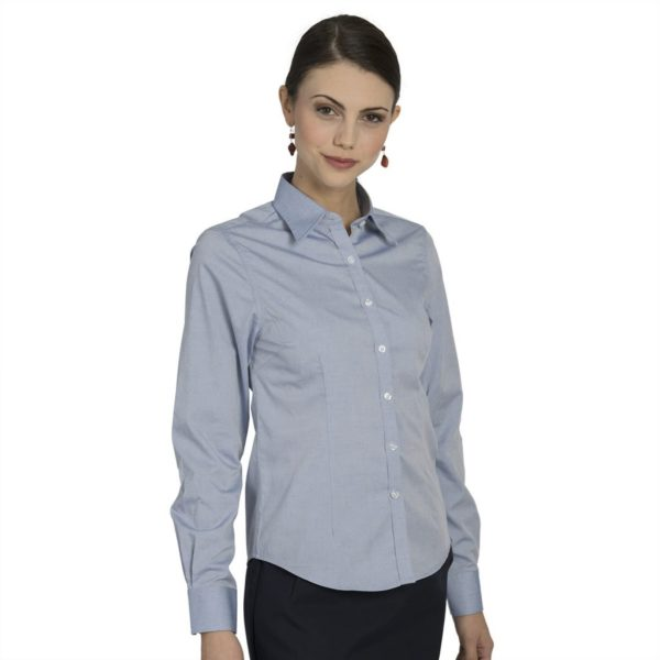 Executive Apparel Womens Pocketless Pinpoint Oxford Shirt - 2500 - Blue