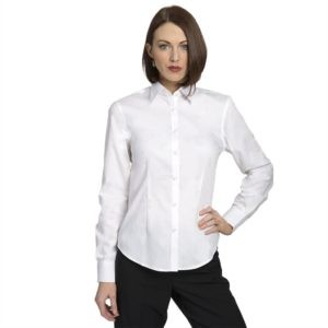 Executive Apparel Womens Pocketless Pinpoint Oxford Shirt - 2500 - White