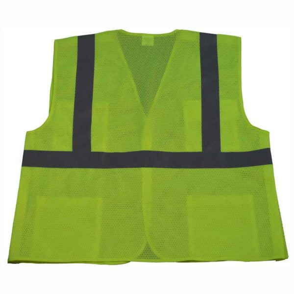 Petra Roc 5 Point Breakaway ANSI Class 2 Lime Safety Vest - LVM2-5PB - Lime-Back
