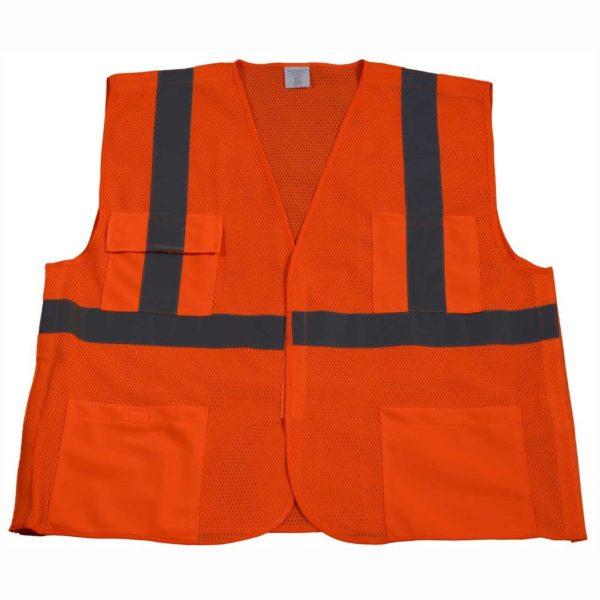 Petra Roc 5 Point Breakaway ANSI Class 2 Orange Safety Vest - OVM2-5PB - Orange-Front