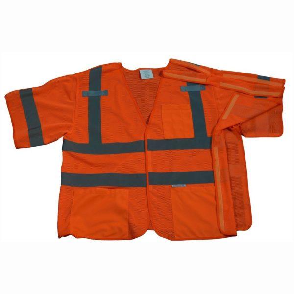 Petra Roc - Short Sleeve Safety Vest Shirt - Orange - OVM3-5PB - Front